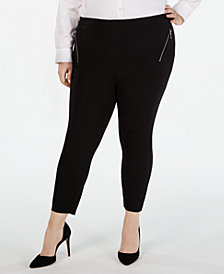 I.N.C. Plus Size Zipper-Detail Skinny Pants, Created for Macy's