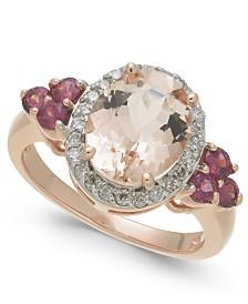 Multi-Gemstone (3-1/10 ct. t.w.) Statement Ring Set in 10k Rose Gold