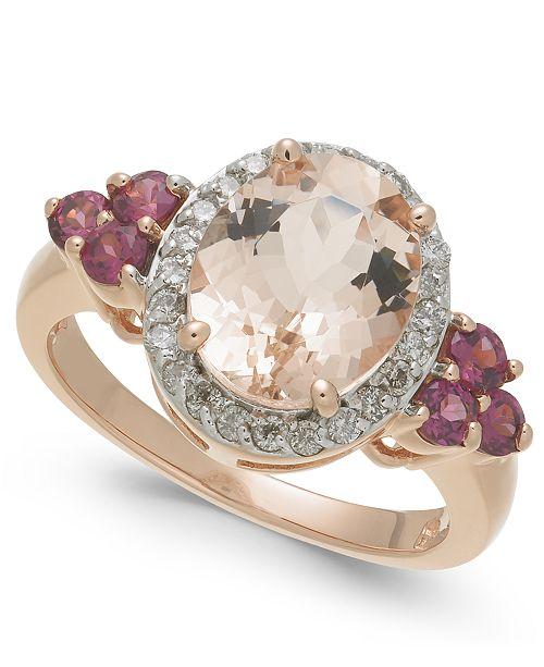 Macy's Multi-Gemstone (3-1/10 ct. t.w.) Statement Ring Set in 10k Rose Gold