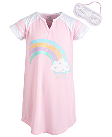 Max & Olivia Big Girls Graphic-Print Nightgown & Eye Shade