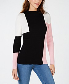 INC Colorblock Ribbed-Knit Sweater, Created for Macy's