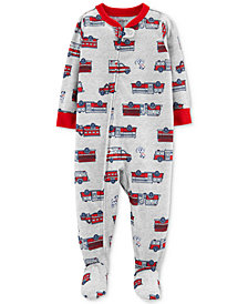 Carter's Toddler Boys 1-Pc. Firetruck-Print Footed Pajamas