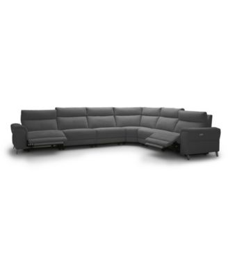 "Raymere 155"" 6-Pc. Fabric Sectional Sofa with 2 Power Motion & Power Headrests"