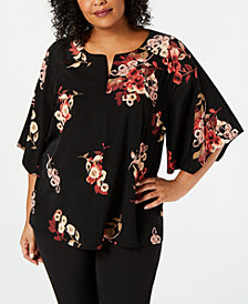 Alfani Plus Size Printed Zip-Front Top, Created for Macy's