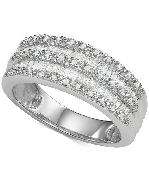 65c7805b1 Macy's Diamond Band Ring (1/2 ct. t.w.) in Sterling Silver & Reviews ...