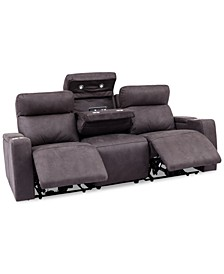 CLOSEOUT! Oaklyn 3-Pc. Fabric Sectional Sofa with 2 Power Recliners, Power Headrests, USB Power Outlet And Drop Down Table