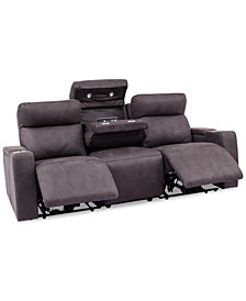Oaklyn 3-Pc. Fabric Sofa with 2 Power Recliners, Power Headrests, USB Power Outlet And Drop Down Table