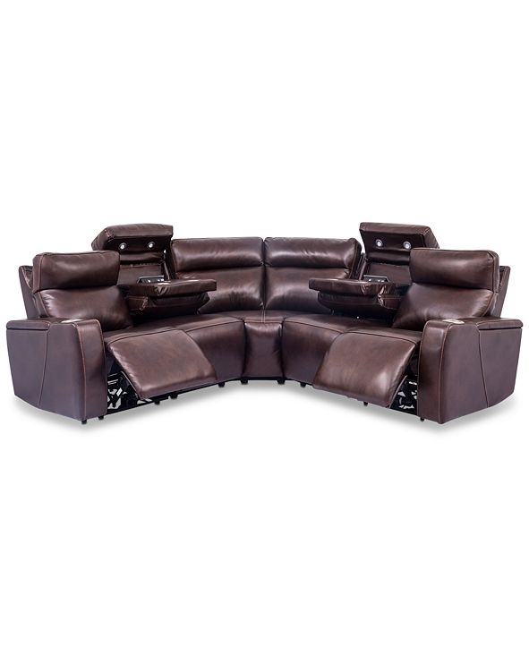 Furniture Oaklyn 5-Pc. Leather Sectional Sofa with 2 Power Motion Recliners & 2 Drop Down Tables