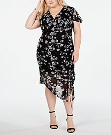 I.N.C. Plus Size Ruched Flutter-Sleeve Dress, Created for Macy's