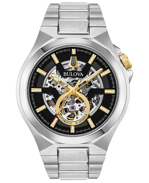 Bulova Men's Automatic Maquina Stainless Steel Bracelet Watch 46mm