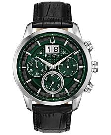 Men's Chronograph Sutton Black Leather Strap Watch 44mm