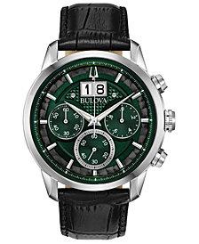 Bulova Men's Chronograph Sutton Black Leather Strap Watch 44mm