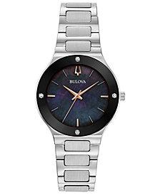 Bulova Women's Modern Diamond-Accent Stainless Steel Bracelet Watch 32mm