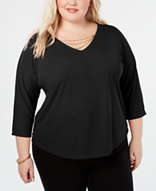 I.N.C. Necklace Dolman Top, Created for Macy's