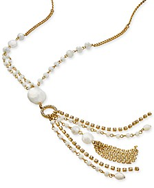 "I.N.C. Gold-Tone Bead & Crystal Tassel Pendant Necklace, 28"" + 3"" extender, Created for Macy's"
