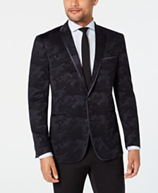Kenneth Cole Reaction Men's Slim-Fit Navy Tonal Camouflage Evening Jacket
