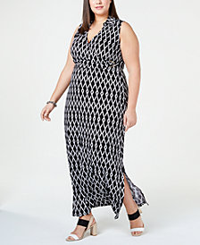Love Squared Trendy Plus Size Printed Collared Maxi Dress