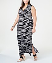 4c9c5b584ac48 Love Squared Trendy Plus Size Printed Collared Maxi Dress