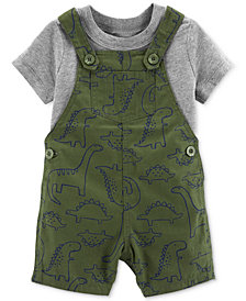 Carter's Baby Boys 2-Pc. Cotton T-Shirt & Dino-Print Shortall Set