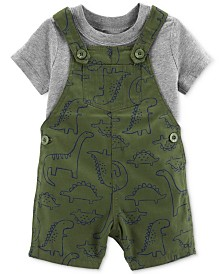Carter's Baby Boys 2-Pc. Cotton T-Shirt & Dino-Print Shortall Set