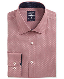 Society of Threads Men's Slim-Fit Performance Stretch Abstract Dress Shirt