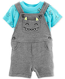 Carter's Baby Boys 2-Pc. T-Shirt & Monster Pocket Shortall Set