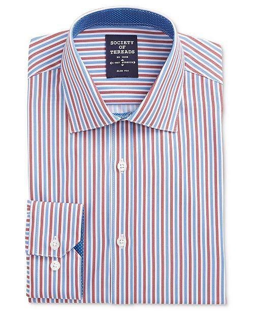 Society of Threads Men's Slim-Fit Performance Stretch Stripe Dress Shirt