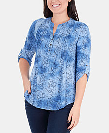 NY Collection Printed Pintucked Roll-Tab Sleeve Top