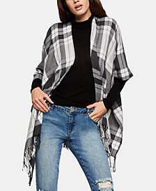 BCBGeneration Plaid Fringe-Trim Ruana