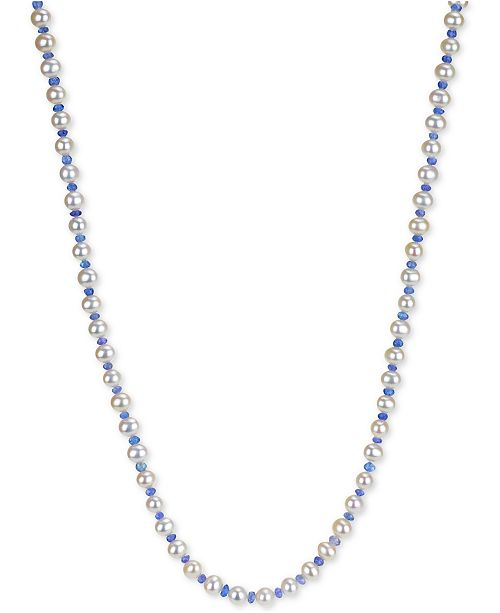 """Macy's Cultured Freshwater Pearl (6-6-1/2mm) and Tanzanite (3-4mm) 64"""" Necklace"""