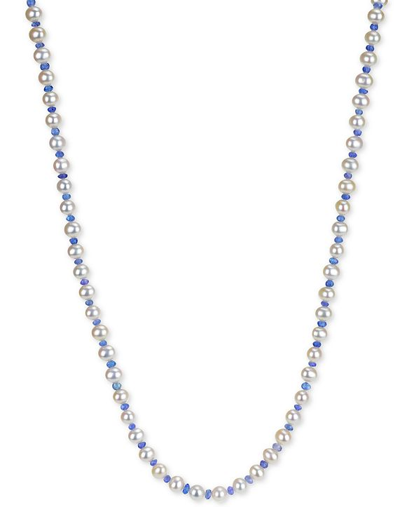 "Macy's Cultured Freshwater Pearl (6-6-1/2mm) and Tanzanite (3-4mm) 64"" Necklace"