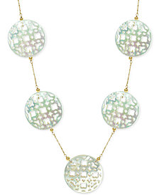 "Mother of Pearl (30mm) Cutout Disc 18"" Chain Necklace in 14k Gold"
