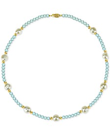 "Cultured Freshwater Baroque Pearl (10-11mm) and Aquamarine (36 ct. t.w.) 18"" Necklace in 14k Gold"