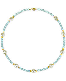 """Cultured Freshwater Baroque Pearl (10-11mm) and Aquamarine (36 ct. t.w.) 18"""" Necklace in 14k Gold"""