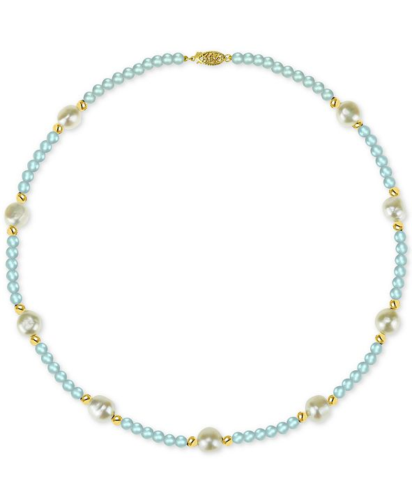 """Macy's Cultured Freshwater Baroque Pearl (10-11mm) and Aquamarine (36 ct. t.w.) 18"""" Necklace in 14k Gold"""