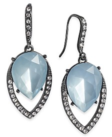I.N.C. Hematite-Tone Stone & Crystal Teardrop Drop Earrings, Created for Macy's