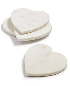Martha Stewart Collection Heart Marble Coasters, Set of 4, Created for Macy's