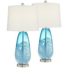 Blue and White North Glass Table Lamps - Set of 2