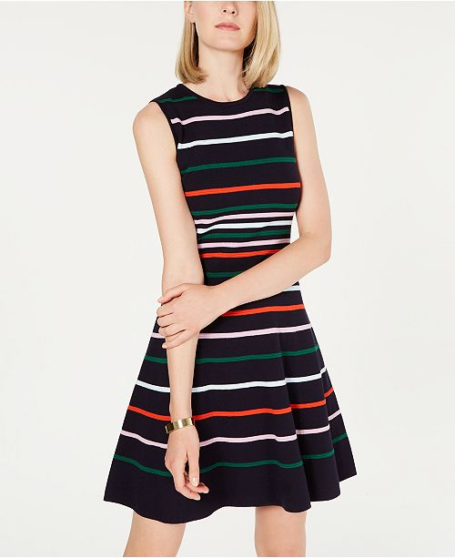 f39cd99abc7 Vince Camuto Striped Fit   Flare Sweater Dress   Reviews - Dresses ...
