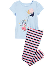 Epic Threads Little Girls Fairy Graphic T-Shirt & Striped Leggings Separates, Created for Macy's