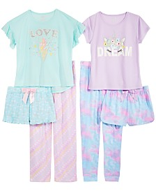 Max & Olivia Big Girls Printed Pajama Tops, Shorts & Pants Separates