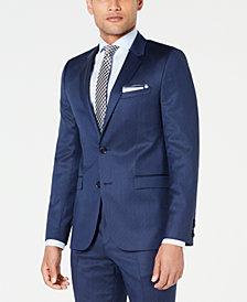 HUGO Men's Slim-Fit Navy Broken Stripe Suit Jacket