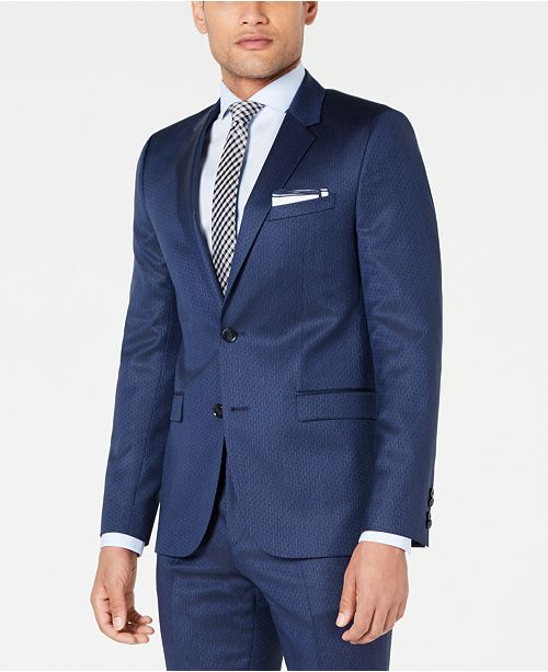 7baed5c21 ... Hugo Boss HUGO Men's Slim-Fit Navy Broken Stripe Suit Jacket ...