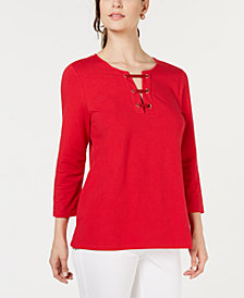 Charter Club 3/4-Sleeve Lace-Up Top, Created for Macy's