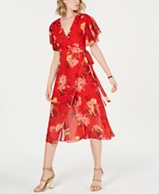Vince Camuto Printed Ruffle-Sleeve Dress