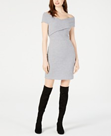 Bar III Ribbed Off-The-Shoulder Dress, Created for Macy's