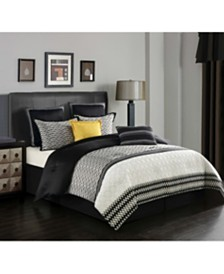 Gigi 8-Piece Comforter Set, Black, Queen