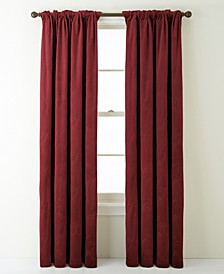 Velvet Embroidered Rod Pocket Single Curtain Panel, Wine, 54 x 84""