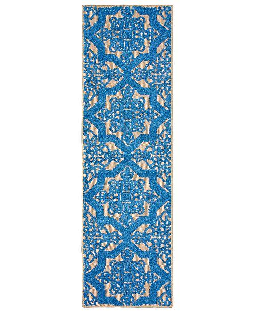 """Oriental Weavers Cayman 2541M Sand/Blue 2'3"""" x 7'6"""" Indoor/Outdoor Runner Area Rug"""