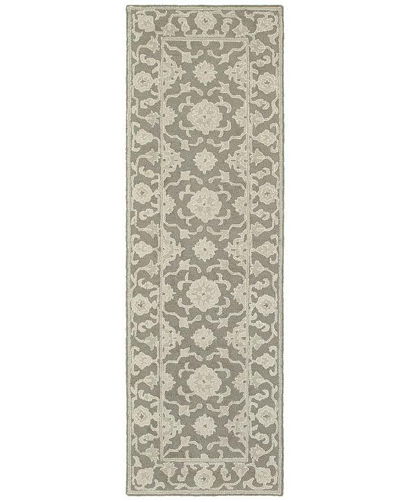 "Oriental Weavers Manor 81204 Gray/Stone 2'6"" x 8' Runner Area Rug"